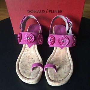 Donald J Pliner Sparkly Suede Wedge Sandals.